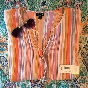 Peasant Vertical Stripe Shirt XL NWT